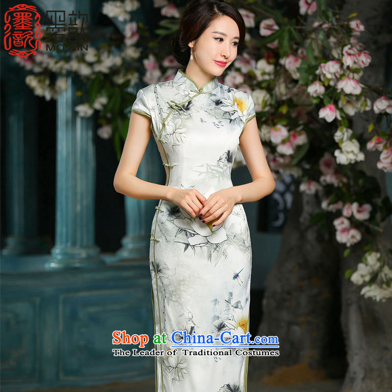 I should be grateful if you would have the ink ? Autumn Chinese Silk Cheongsam Lotus retro improved leaf banquet service ZA706 Sau San dress 2XL