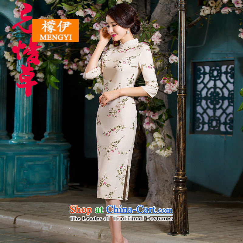 The city of autumn 2015, replacing the graphics in Sau San retro thin large cuff improved linen long skirt qipao day lilies XXXL