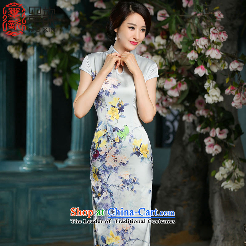 The Huai Yui�15 new ?, summer short-sleeved cheongsam dress, day-to-day long thin Graphics Improvement cheongsam dress燴A707 Sau San M