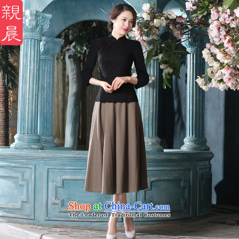 The new summer and fall of 2015 with daily improved fashion, cuff cotton linen dresses CHINESE CHEONGSAM Dress Shirt female retro 7 sleeved shirt +MQ310 khaki skirt�2XL