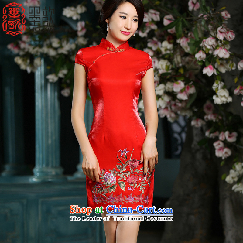 Ink 姝� dream聽2015 new festive Chinese red bride qipao wedding-dress banquet service with improved short of day-to-day Sau San dresses聽ZA710聽RED聽L