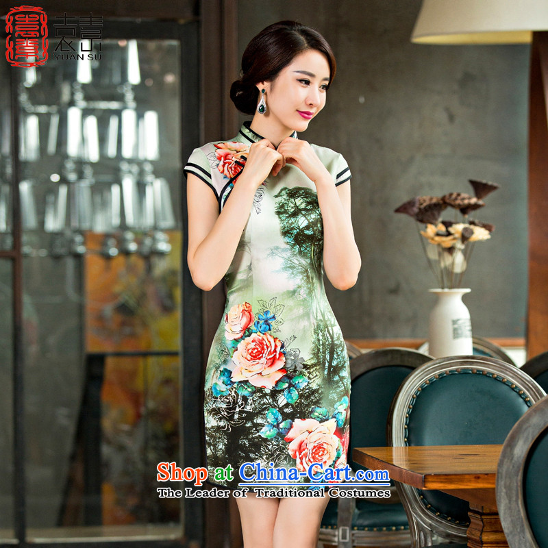Mr Yuen So hsunchiang�cheongsam dress on 2015 new retro style qipao summer improved daily short-sleeved cheongsam dress�QD252�picture color�M