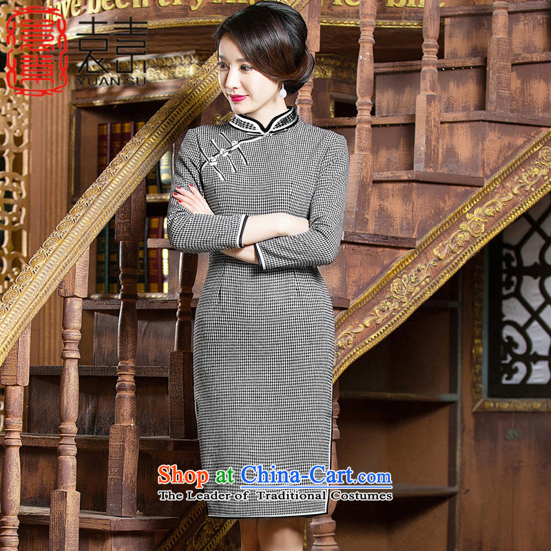 Mr Yuen So Nian Nv Jiao?2015 wool? for winter retro style qipao improved cheongsam dress cheongsam dress new long-sleeved?QD307?chidori grid?XXL