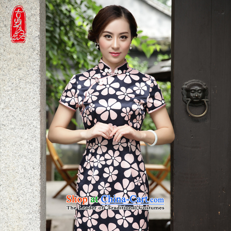 The Wu Female Red燬pring and Autumn 2015 New Silk cheongsam dress with long-in Sau San-to-day, dresses elegant stamp�644A101 S