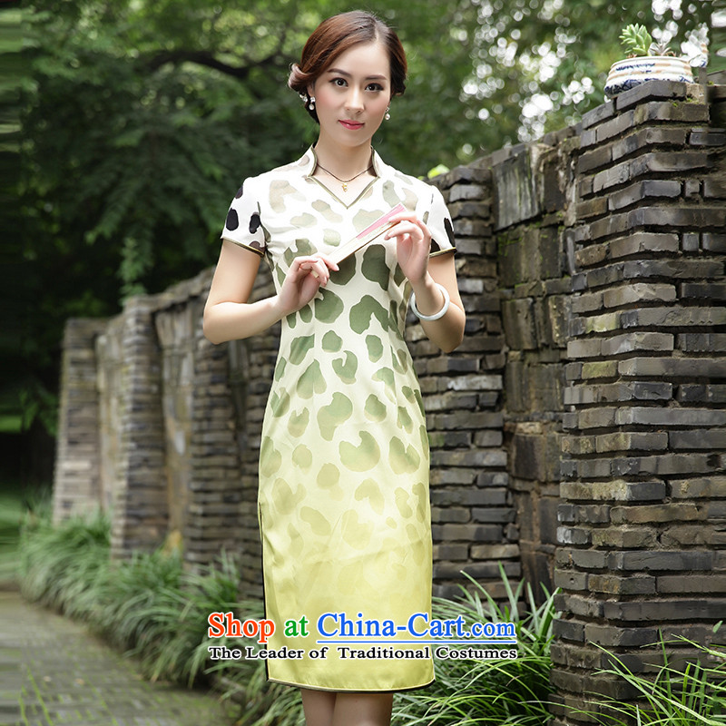 The Wu female red燼utumn 2015 New Silk Cheongsam dress replace Sau San-long Tang Dynasty Ms. everyday dress�628103 XL
