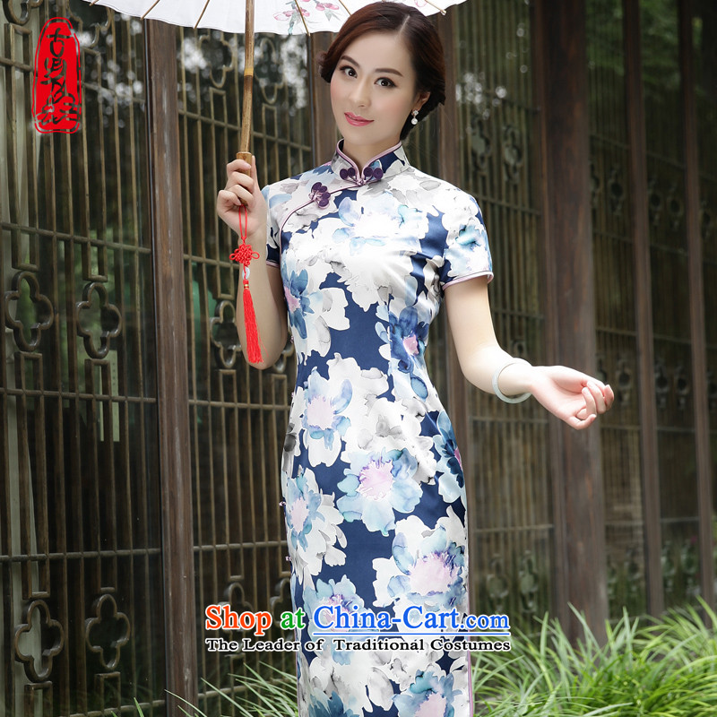 The Wu female red 2015 New Silk Cheongsam dress in the Spring and Autumn period decor are long-style dresses blue XL