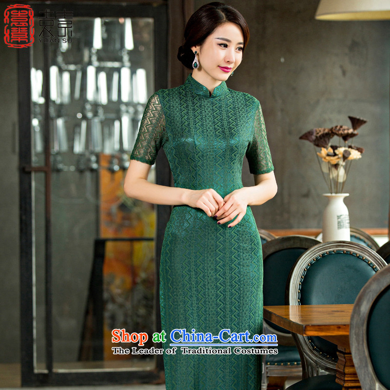 Yuan of green Yu Beauty�15 new cheongsam dress short-sleeved long qipao older qipao gown cheongsam with improved mother燪D249爂reen燣