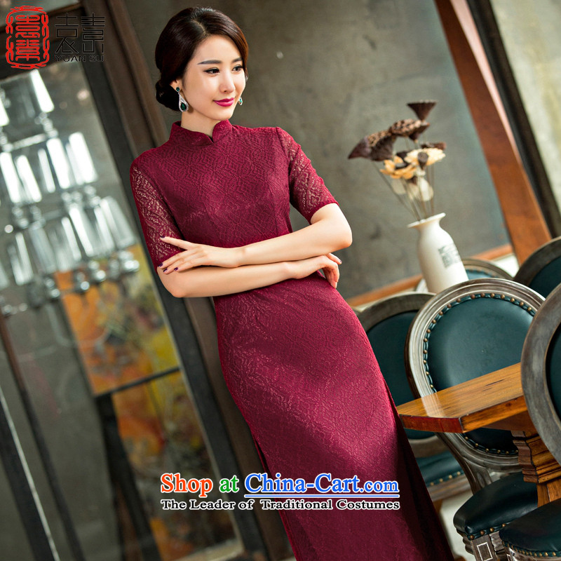 Mr YUEN Hung Yu Beauty of Qipao 2015 new temperament and stylish Chinese wedding dresses mother autumn long cheongsam dress etiquette clothing QD248 dark red L