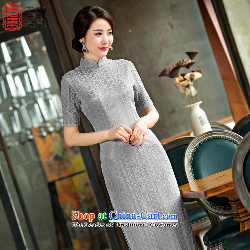Yuan of gray Yu Beauty?2015 new cheongsam dress retro cheongsam dress long cheongsam dress in older qipao mother replacing?QD247?Light Gray?L