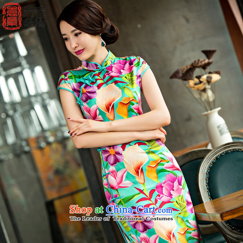 Mr Yuen So Magnolia retro stamp long cheongsam燿ress qipao 2015 new national high wind of the forklift truck Sau San cheongsam dress燪D246 XL