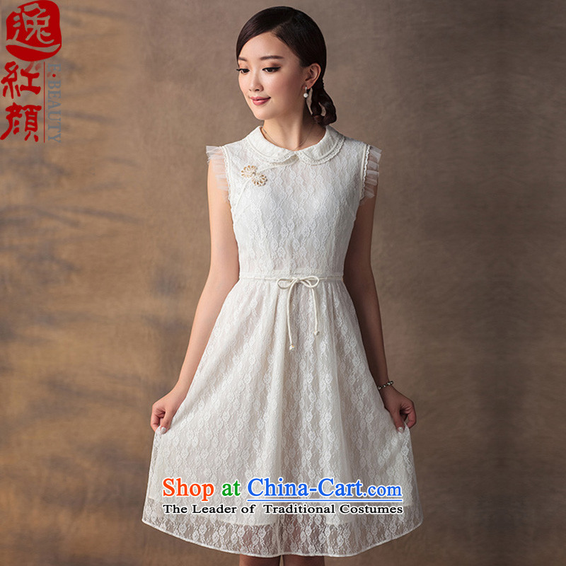 A Pinwheel Without Wind Yat Ching Yee lace dresses in the summer of 2015, the establishment of a video thin retro nation Sau San wind solid color dresses ivory M