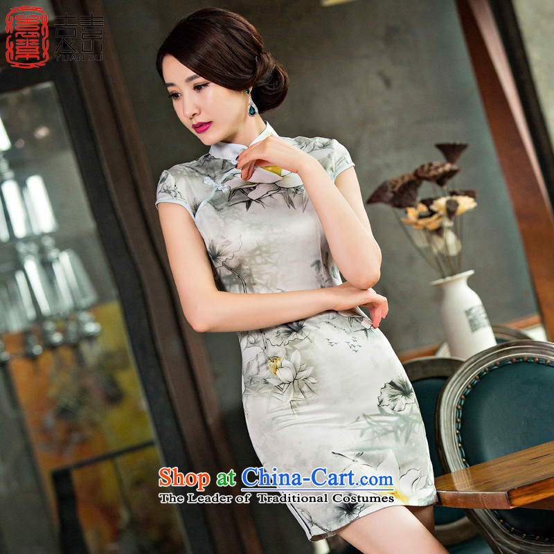 Yuan of picking the national culture and stylish Lin quality Silk Cheongsam improved retro 2015 new cheongsam dress China wind燪D244 female燬uit燤