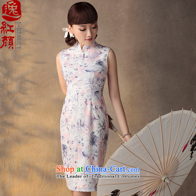 A Pinwheel Without Wind Flower-Madeunlike Yat Summer�15 new improved summer qipao retro Sau San improved chiffon dresses pink�L