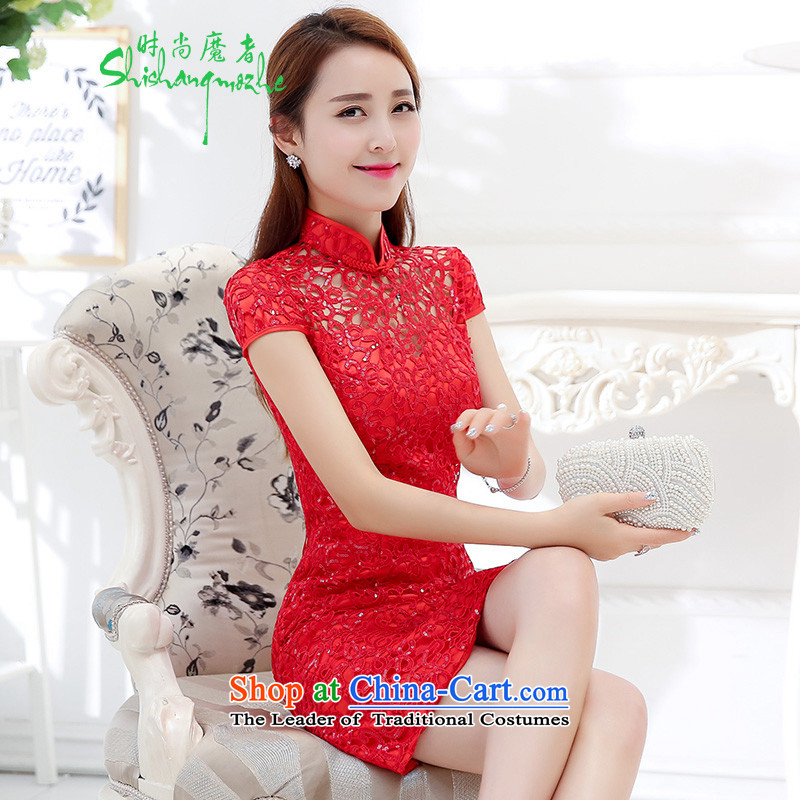 Stylish new red devil of qipao gown romance buds bride bows embroidery elegant classical collar dresses larger female?1576?RED?M
