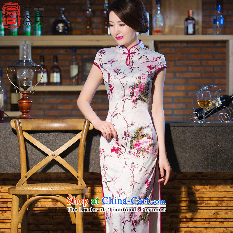 The language of the yuan after deduction Temperament spent long Silk Cheongsam temperament of nostalgia for the new 2015 qipao cheongsam dress qipao gown QD241 Sau San suit XXL