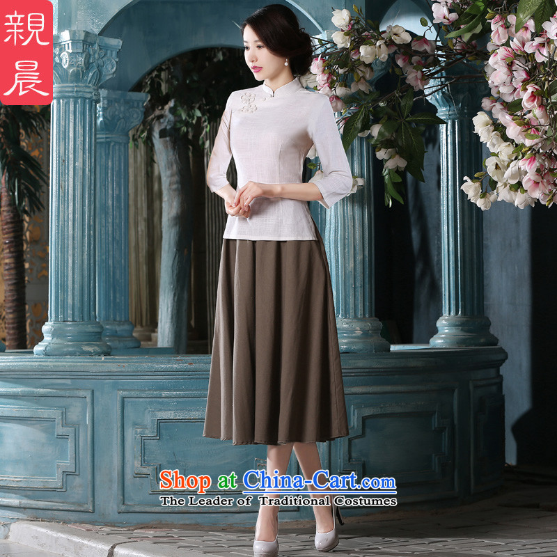 In the long cotton linen dresses female qipao shirt pro-am new summer and fall inside the seven-day retro improved sleeved shirt + card which skirts?XL