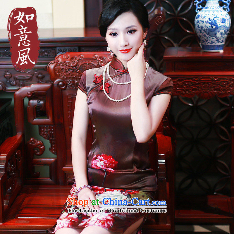 After a new summer 2015 wind Silk Cheongsam improved heavyweight herbs extract routine Sau San qipao 4318 4318聽S Suit