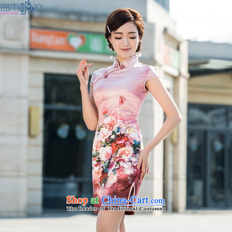 Suzhou New Silk Dresses retro arts small fresh cheongsam dress cheongsam dress ceremony as figure?XXL