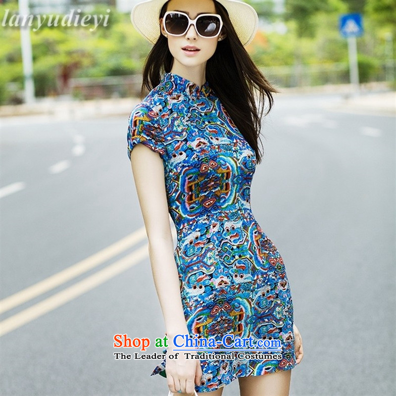 The spirit of Mr _2015 Kou heavyweight women's dresses Tang Dynasty Sau San Graphics Improvement stylish qipao Thin Dark Blue燤