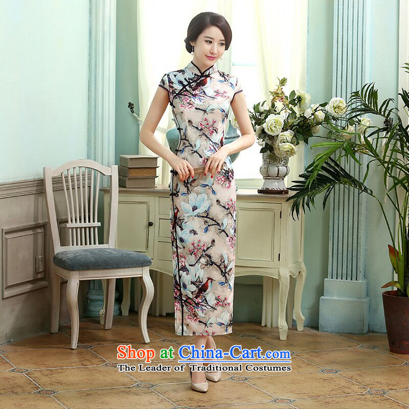 Dan smoke new long qipao daily retro Ms. Chinese improved Silk Dresses Tulip Sau San long qipao figure is聽XL