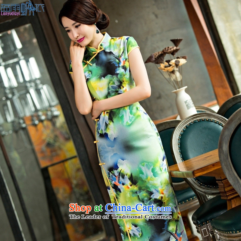 The new summer, elegance retro cheongsam long skirt dress clothes tea service picture color L