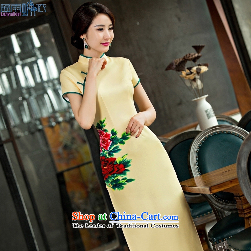 2015 new summer short-sleeved long antique dresses silk skirt fashion clothing as figure聽S Cheongsam