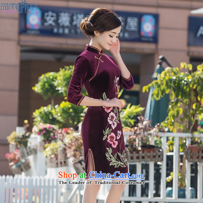 Qipao spring and summer new Stretch Wool stylish embroidery Sau San cheongsam dress qipao everyday dress photo color S
