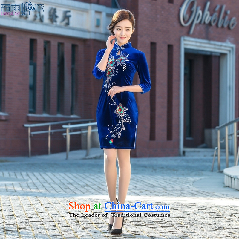 2015 new velvet cheongsam dress daily retro seven short of public cuff Sau San embroidery cheongsam figure燬
