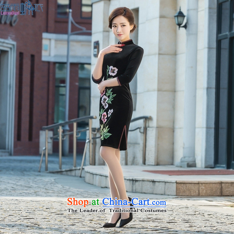 2015 Spring_Summer seven new stylish retro cuff cheongsam dress velvet cheongsam dress everyday black聽M