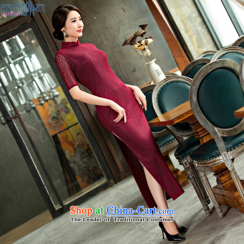 20 new long high on the forklift truck and sexy cheongsam dress daily Popular national wind female graphics thin lace performance characteristics template qipao?XL