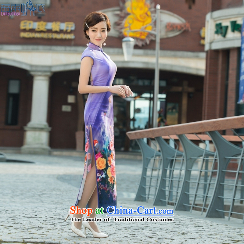 Stylish retro qipao 2015 Long bride daily Chinese banquet service cheongsam dress like toasting champagne figure XL