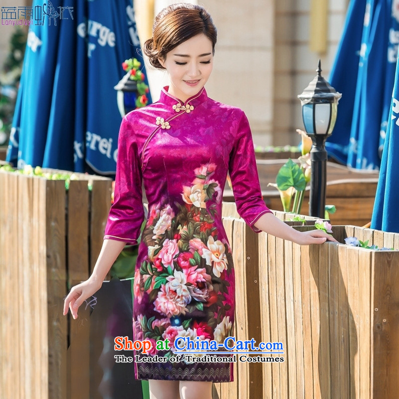 2015 Spring and Autumn new daily scouring pads qipao retro Sau San 7 cuff cheongsam dress photo color M