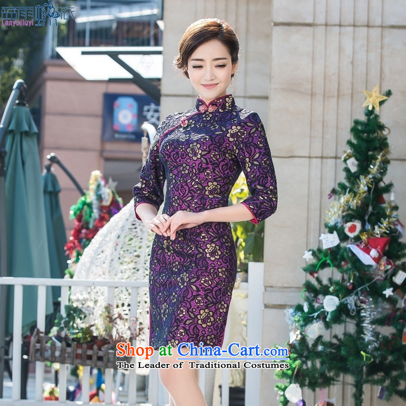 2015 Summer elegant new Stylish retro lace elegant qipao gown cheongsam picture color Sau San S