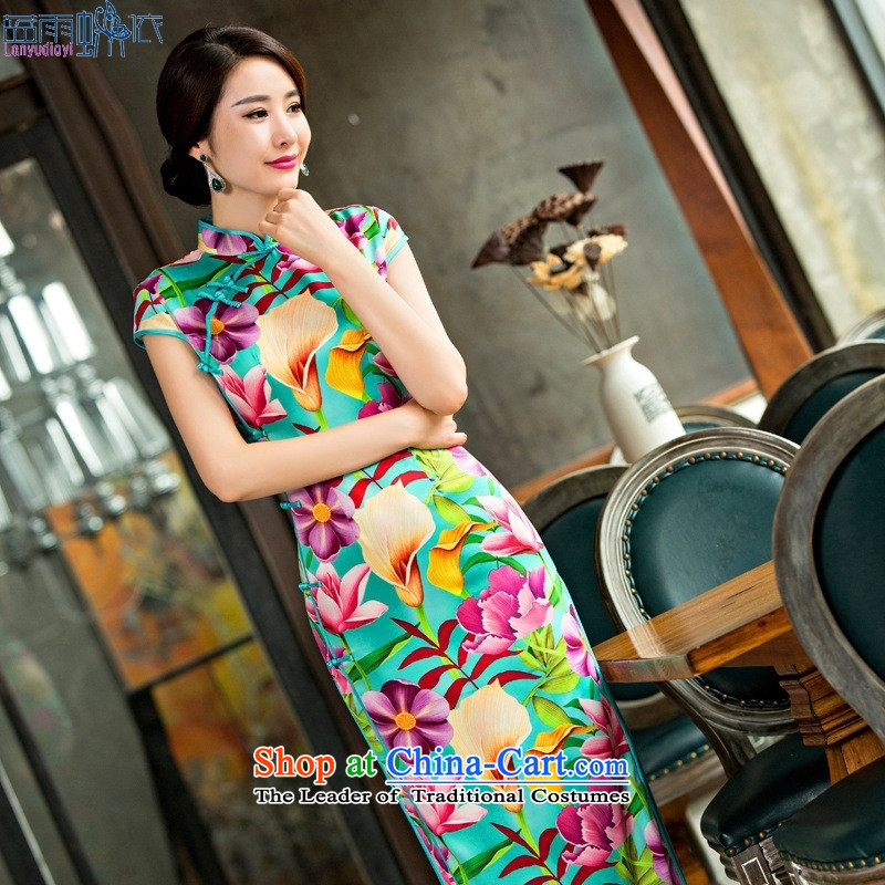 2015 daily new long summer QIPAO_ high on the forklift truck and sexy female graphics cheongsam dress thin Silk Cheongsam Template Characteristics聽L Concert