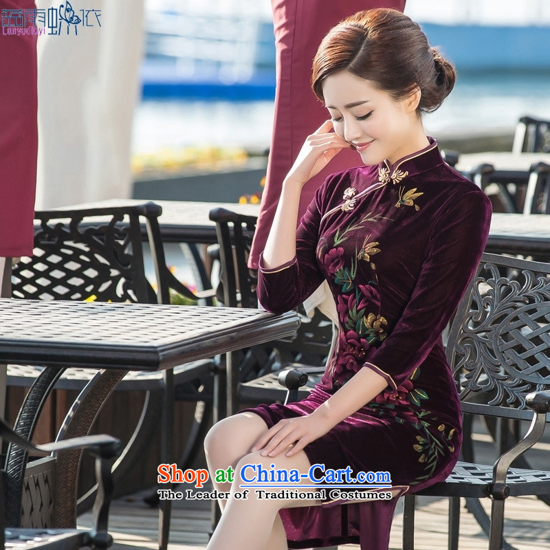 In the medium to long term, qipao 7 cuff retro cheongsam dress elegant qipao embroidered velvet banquet with embroidery cheongsam figure S
