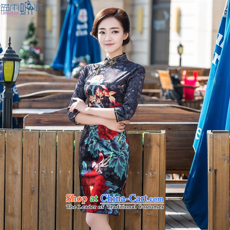 The new daily fashion 7 cuff older mother retro style qipao and wedding banquet dress qipao picture color scouring pads燤