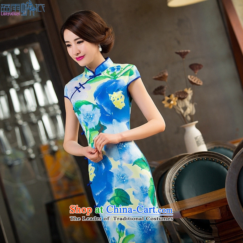 Summer 2015 new cheongsam daily long skirt retro Sau San banquet cheongsam dress sense of Qipao figure?S