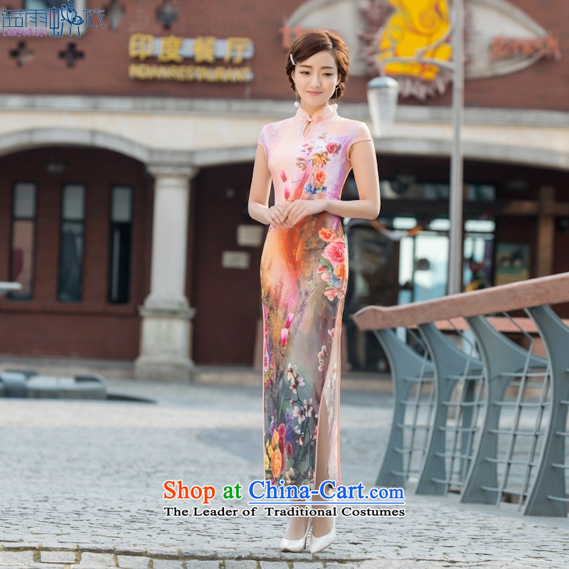 2015 new cheongsam dress Stylish retro long qipao gown everyday dress summer female qipao figure聽S
