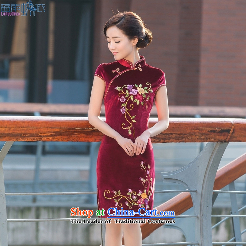 2015 Spring/Summer new stylish Chinese cheongsam dress cheongsam dress short of Sau San dresses Winter Female scouring pads?M