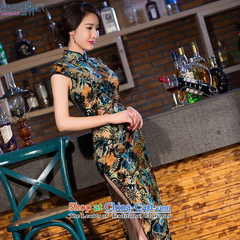 2015 Spring Summer daily cheongsam long Kim scouring pads cheongsam dress retro Sau San video thin Template Characteristics�XXL