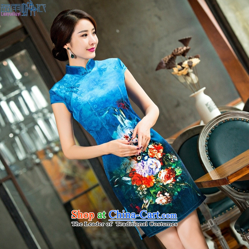 The spring and summer of 2015 new stylish cheongsam dress daily retro dress qipao picture color M scouring pads