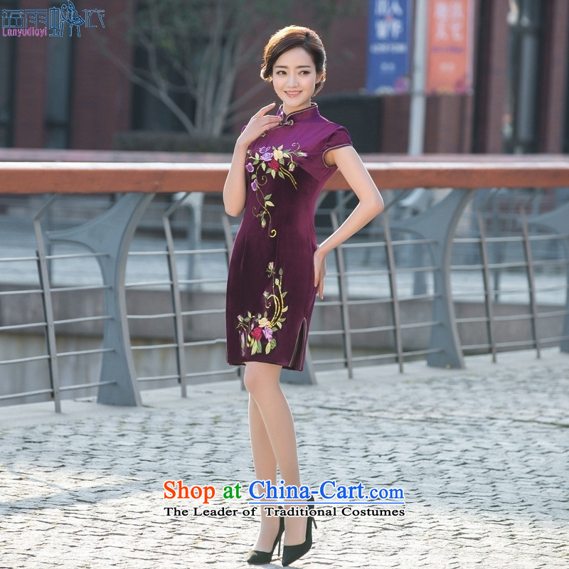 2015 Spring/Summer cheongsam dress stylish new retro-cashmere cheongsam dress daily figure XL