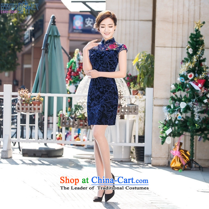 The new stylish retro qipao gown cheongsam dress daily short skirt) picture color?M