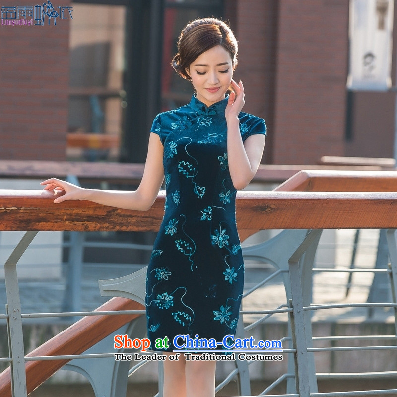 2015 Summer new embroidery cheongsam dress qipao velvet retro-Day Banquet cheongsam dress figure S