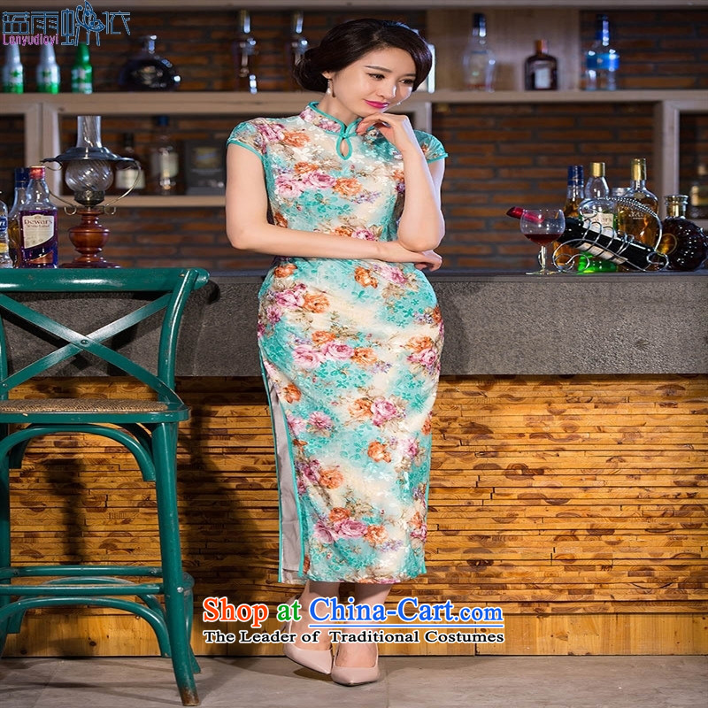 Sepia national high wind power's Chinese dresses Kim long skirt qipao Wool Velvet cheongsam Template Characteristics?S