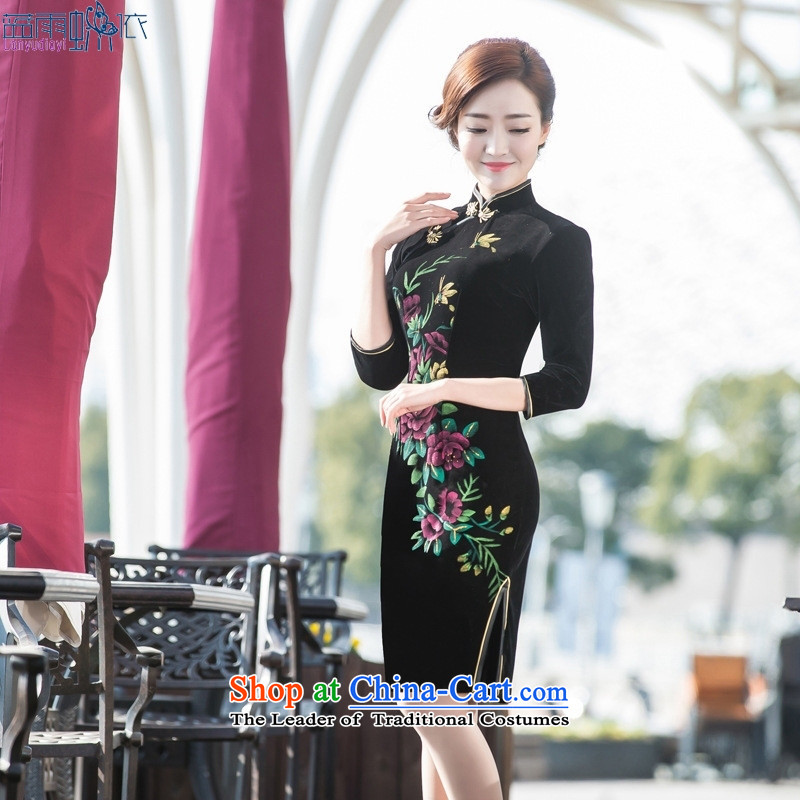 Qipao 2015 Spring Antique stretch of 7-Day Banquet qipao cuff velvet cheongsam dress mother figure XL