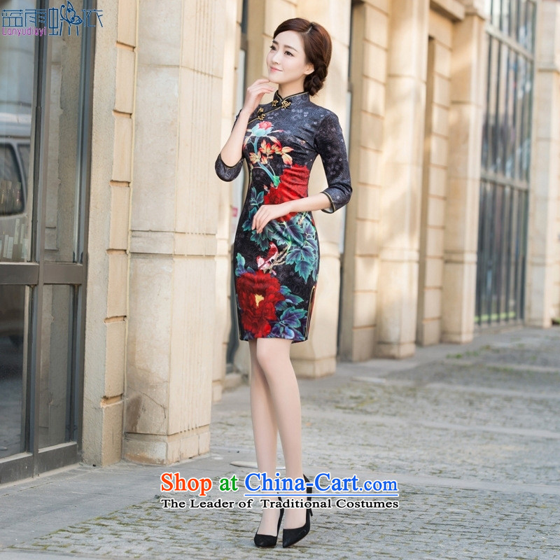 2015 new scouring pads and the relatively short time of day-to-day qipao middle-aged moms retro cheongsam dress elegant figure?L