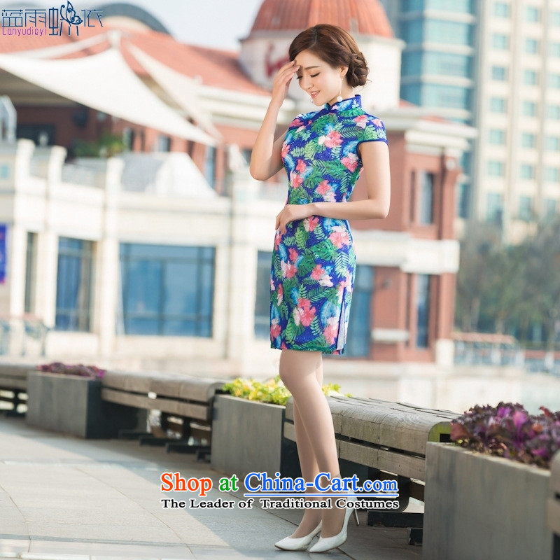 Summer daily dresses retro elegance cheongsam dress Sau San video thin short stylish qipao figure XXL