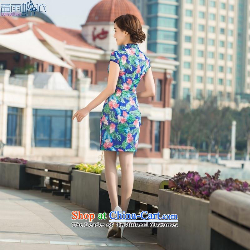 Summer daily dresses retro elegance cheongsam dress Sau San video thin short stylish qipaoXXL, figure in accordance with the EIA rain blue , , , shopping on the Internet