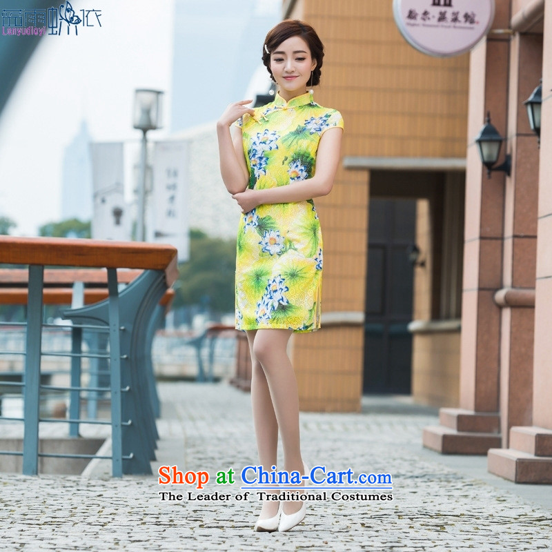 2015 Summer Chinese Antique style qipao dresses gentlewoman temperament is pressed to silk short daily, qipao figure skirt?L